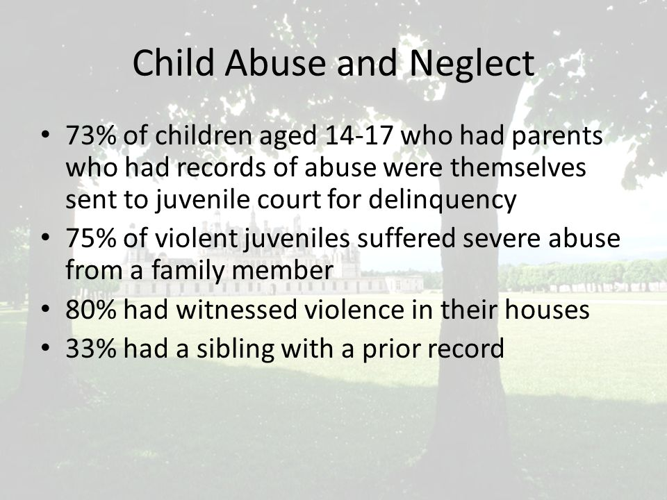 Child Abuse and Neglect 73% of children aged 14-17 who had parents who had records of abuse were themselves sent to juvenile court for delinquency 75% of violent juveniles suffered severe abuse from a family member 80% had witnessed violence in their houses 33% had a sibling with a prior record