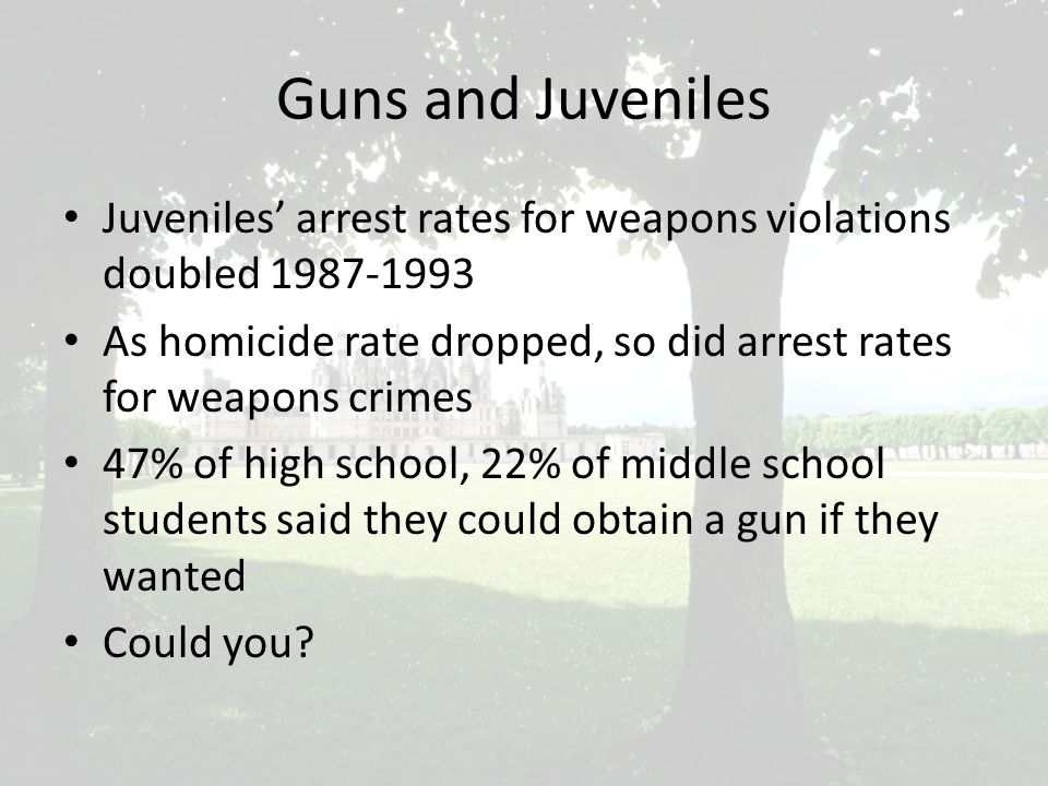 Guns and Juveniles Juveniles' arrest rates for weapons violations doubled 1987-1993 As homicide rate dropped, so did arrest rates for weapons crimes 47% of high school, 22% of middle school students said they could obtain a gun if they wanted Could you