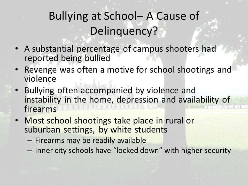 Bullying at School– A Cause of Delinquency.