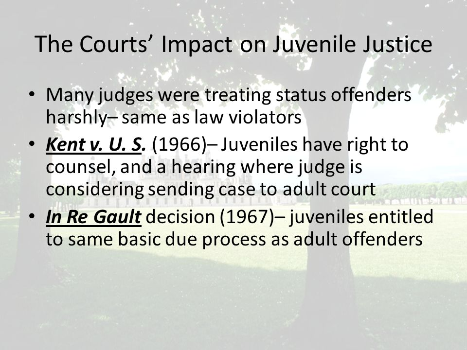 Disposition of Juvenile Case After adjudication take place, a dispositional hearing is held (bifurcated process) Judge decides what sentence will best serve needs of the juvenile Probation Office provides disposition report to help judge make decision – Report addresses family background, facts of the offense or act, interviews with significant persons