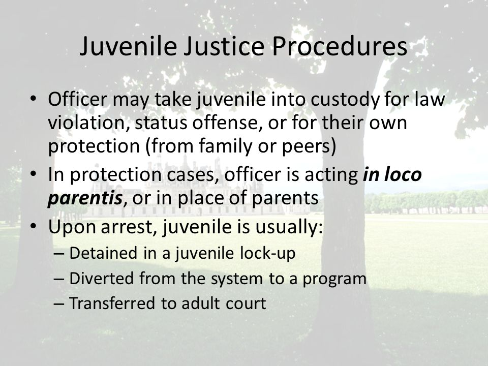Juvenile Justice Procedures Officer may take juvenile into custody for law violation, status offense, or for their own protection (from family or peers) In protection cases, officer is acting in loco parentis, or in place of parents Upon arrest, juvenile is usually: – Detained in a juvenile lock-up – Diverted from the system to a program – Transferred to adult court
