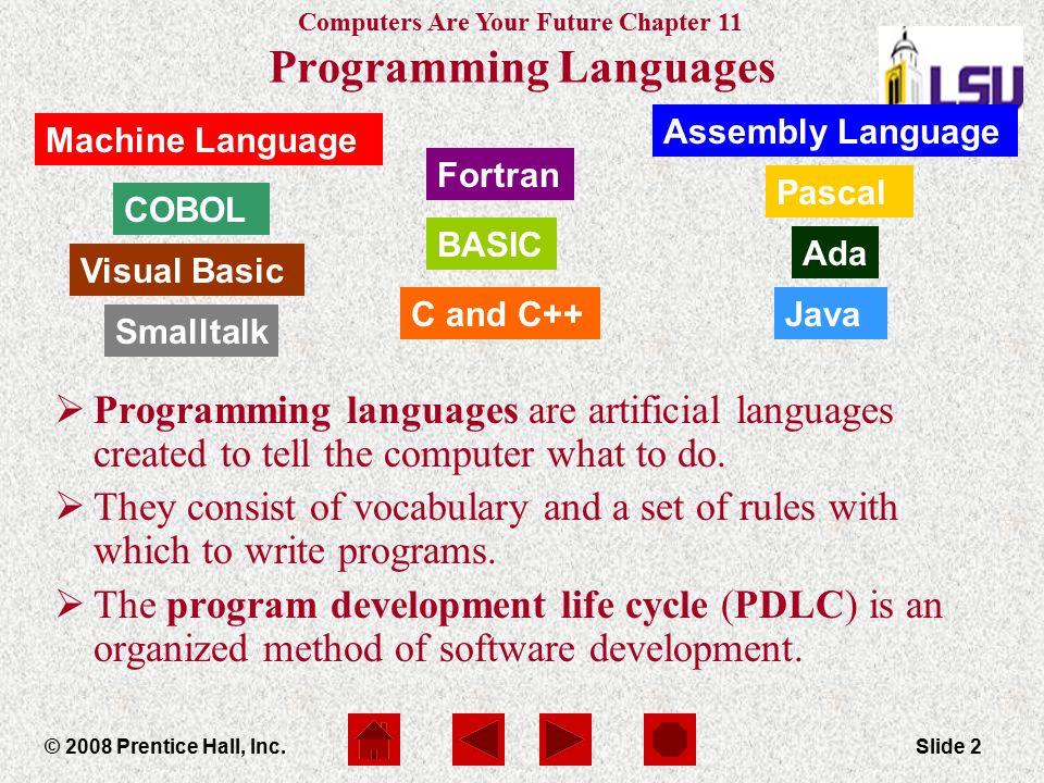 Computers Are Your Future Chapter 11 © 2008 Prentice Hall, Inc.Slide 2 Machine Language Ada Pascal Fortran COBOL Assembly Language Smalltalk Visual Ba