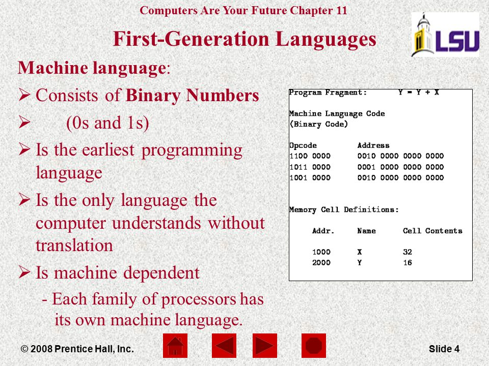 Computers Are Your Future Chapter 11 © 2008 Prentice Hall, Inc.Slide 4 First-Generation Languages Machine language:  Consists of Binary Numbers  (0s