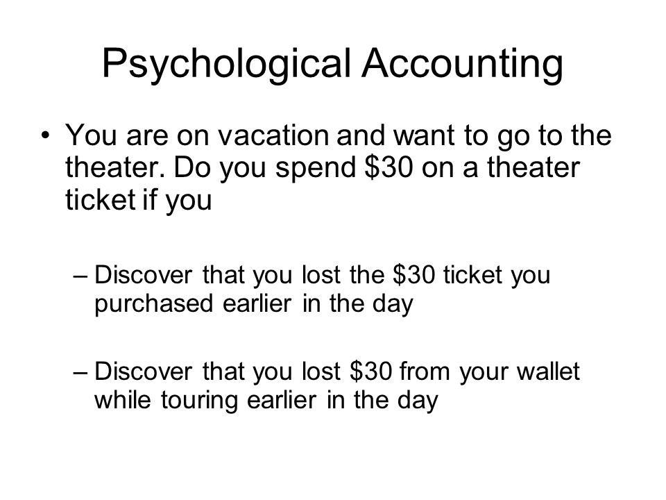 Psychological Accounting You are on vacation and want to go to the theater.