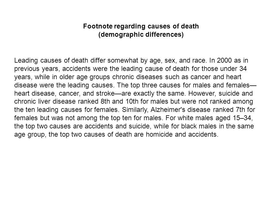 Leading causes of death differ somewhat by age, sex, and race. In 2000 as in previous years, accidents were the leading cause of death for those under