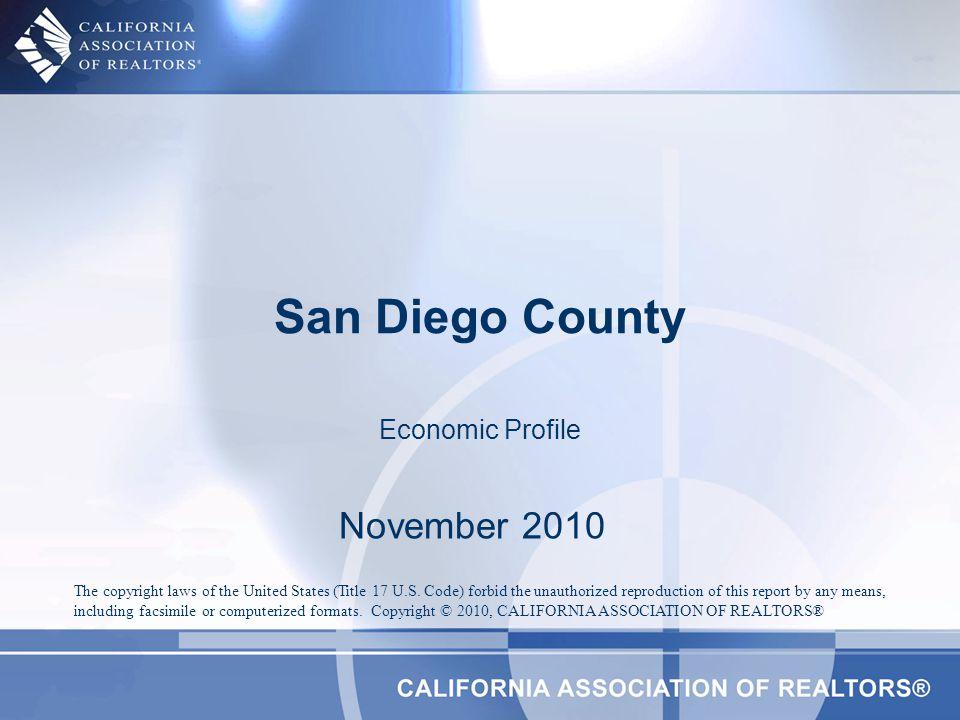 San Diego County Profile CharacteristicStatisticState Rank 2009 Population Estimate3,053,7932 % Population Change 1990-200012.6%35 % Population Change 1980-199034.17%18 % White 200950.2% % Hispanic 200931.3% % Black 20094.9% % Asian & Pacific Islander 200910.5% 2009 Per Capita Income$29,217 2009 Median Household Income$60,231 20097 Median Age34.7 Land Area Square Miles4,2009 2000 Total Establishments67,9223 2009 Civilian Employment1,494,691