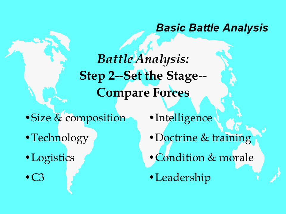 Basic Battle Analysis Battle Analysis: Step 2--Set the Stage-- Compare Forces Size & composition Technology Logistics C3 Intelligence Doctrine & training Condition & morale Leadership