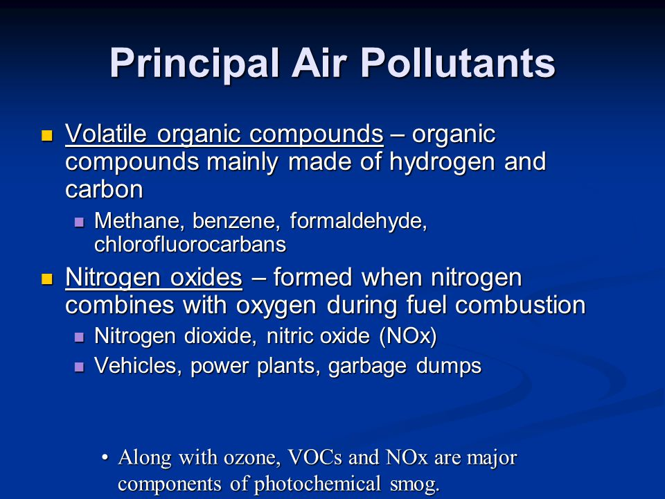 Principal Air Pollutants Volatile organic compounds – organic compounds mainly made of hydrogen and carbon Volatile organic compounds – organic compounds mainly made of hydrogen and carbon Methane, benzene, formaldehyde, chlorofluorocarbans Methane, benzene, formaldehyde, chlorofluorocarbans Nitrogen oxides – formed when nitrogen combines with oxygen during fuel combustion Nitrogen oxides – formed when nitrogen combines with oxygen during fuel combustion Nitrogen dioxide, nitric oxide (NOx) Nitrogen dioxide, nitric oxide (NOx) Vehicles, power plants, garbage dumps Vehicles, power plants, garbage dumps Along with ozone, VOCs and NOx are major components of photochemical smog.Along with ozone, VOCs and NOx are major components of photochemical smog.