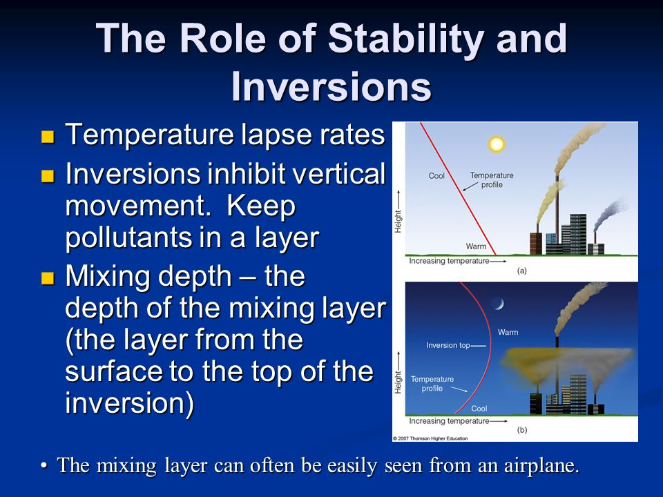 The Role of Stability and Inversions Temperature lapse rates Temperature lapse rates Inversions inhibit vertical movement.