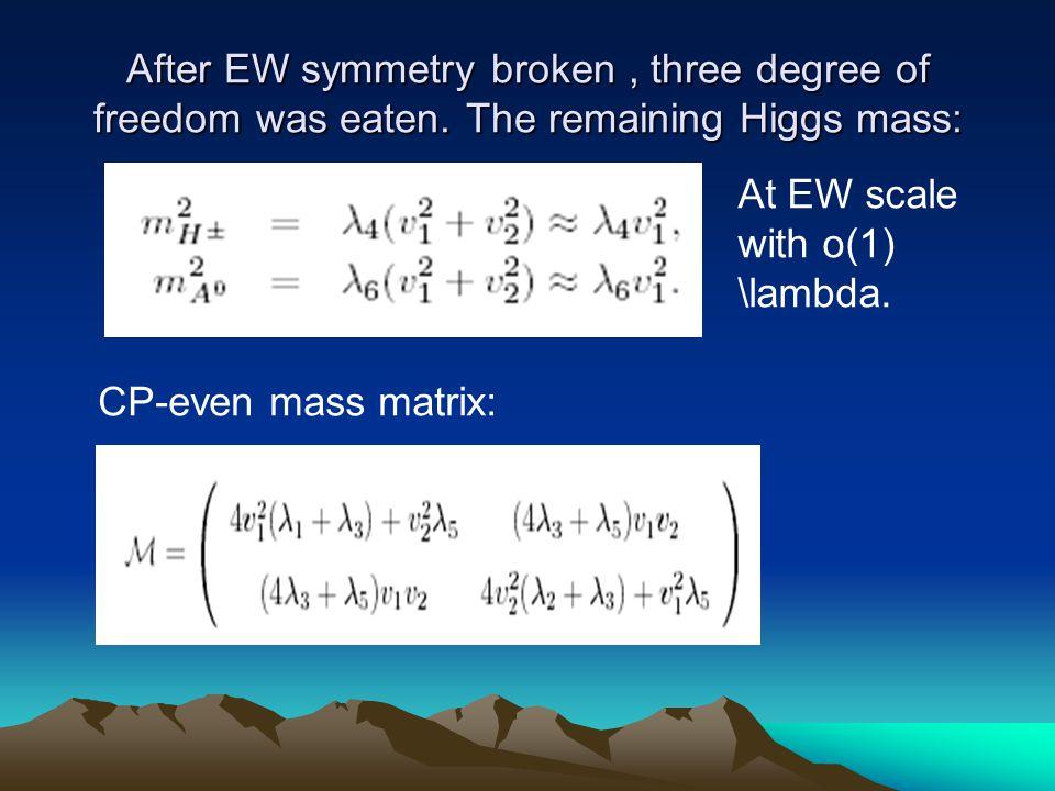 After EW symmetry broken, three degree of freedom was eaten.