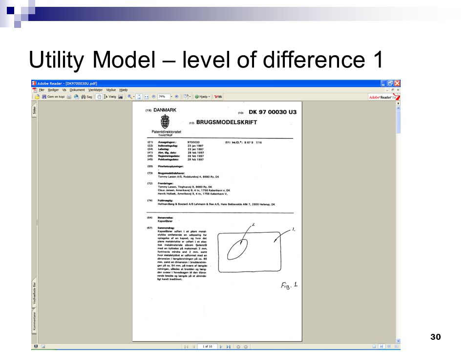 30 Utility Model – level of difference 1