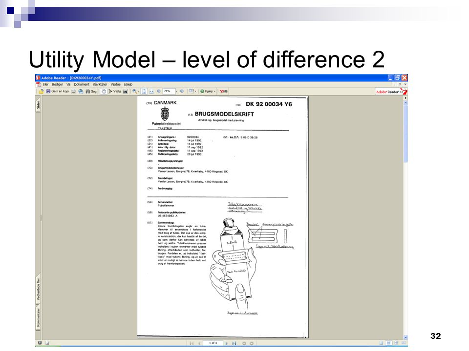32 Utility Model – level of difference 2