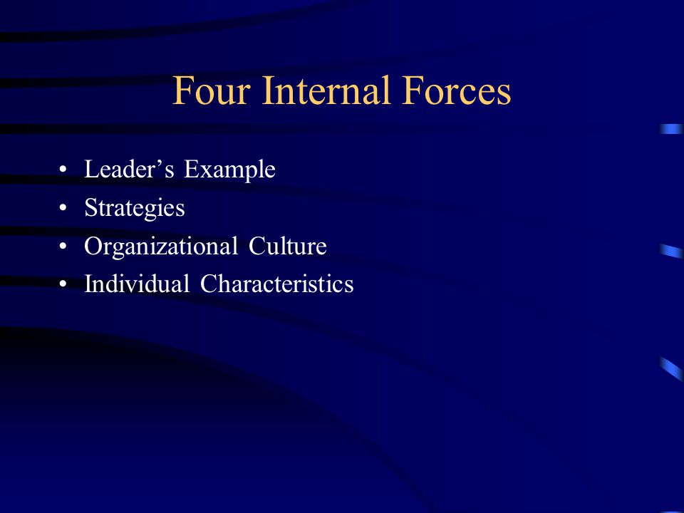 Four Internal Forces Leader's Example Strategies Organizational Culture Individual Characteristics