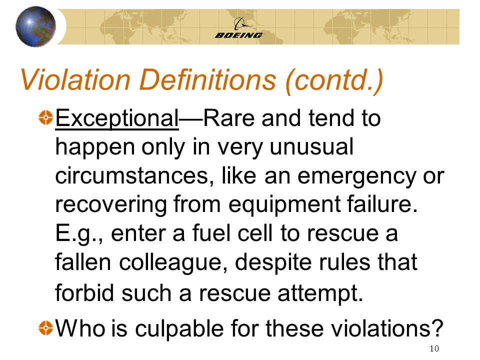 10 Violation Definitions (contd.) Exceptional—Rare and tend to happen only in very unusual circumstances, like an emergency or recovering from equipment failure.