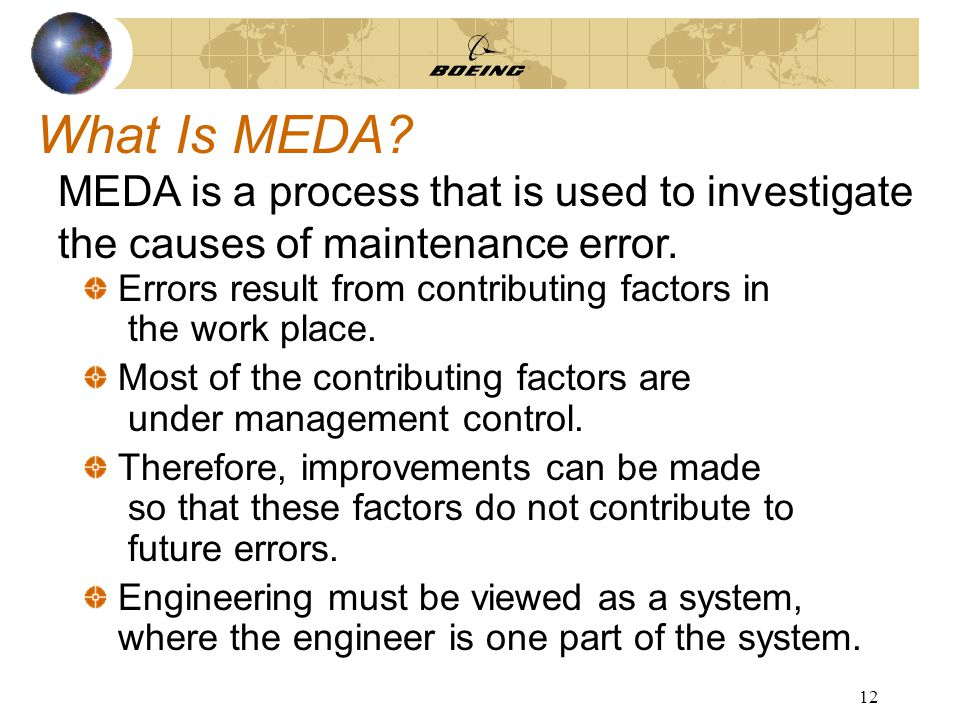 12 What Is MEDA. Errors result from contributing factors in the work place.