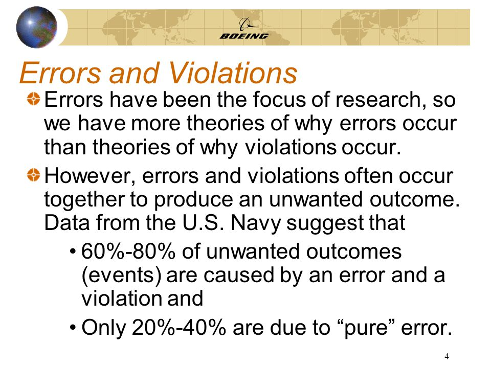 4 Errors and Violations Errors have been the focus of research, so we have more theories of why errors occur than theories of why violations occur.