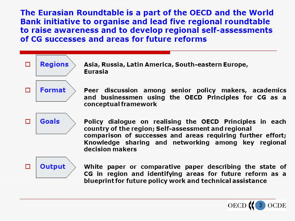 3 The Eurasian Roundtable is a part of the OECD and the World Bank initiative to organise and lead five regional roundtable to raise awareness and to develop regional self-assessments of CG successes and areas for future reforms  Regions Asia, Russia, Latin America, South-eastern Europe, Eurasia  Format Peer discussion among senior policy makers, academics and businessmen using the OECD Principles for CG as a conceptual framework  Goals Policy dialogue on realising the OECD Principles in each country of the region; Self-assessment and regional comparison of successes and areas requiring further effort; Knowledge sharing and networking among key regional decision makers  Output White paper or comparative paper describing the state of CG in region and identifying areas for future reform as a blueprint for future policy work and technical assistance