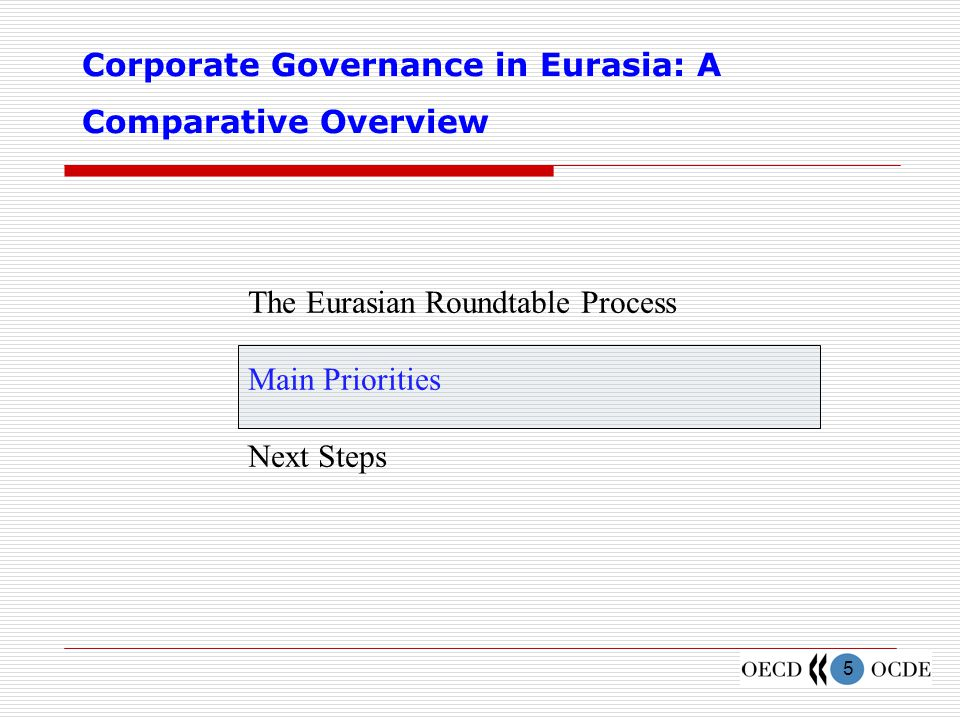 6 The Comparative Overview puts forth seven priority recommendations for CG reform  Promote private sector development Intensify privatisation Improve governance of state-owned assets Consolidate ownership through a fair and equitable process  Increase transparency and disclosure Of ownership structures Regarding major decisions and actions of managers and controlling investors Provide adequate legal means to eliminate self-dealing and to monitor controlling shareholders Accelerate adoption of IFRS Increase the number and improve the skills of accountants and auditors Facilitate Continuous training Ensure auditor independence
