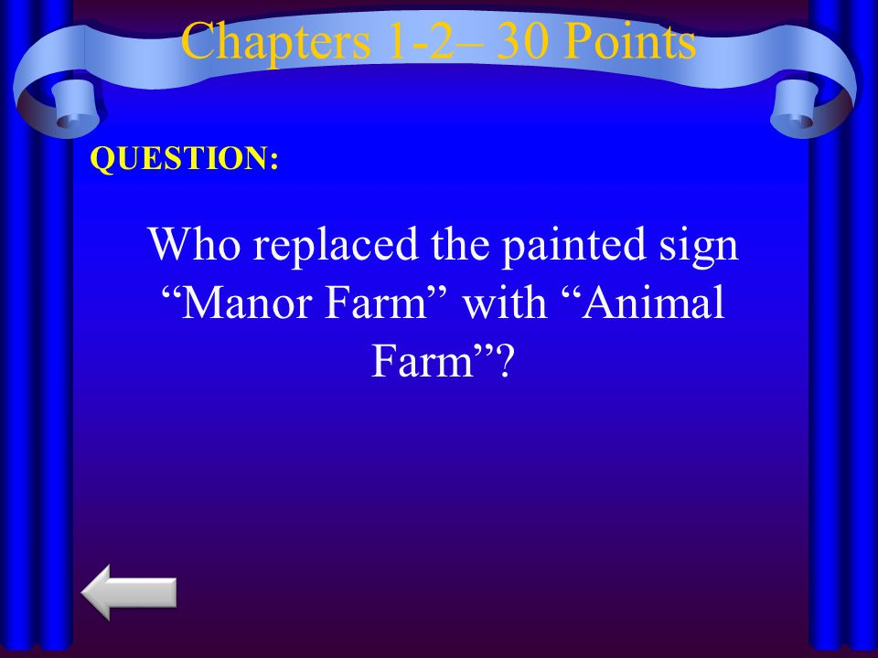 "Chapters 1-2– 30 Points QUESTION: Who replaced the painted sign ""Manor Farm"" with ""Animal Farm""?"