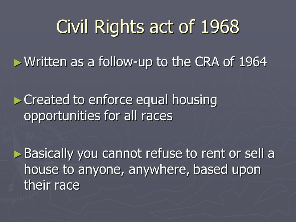 Voting Rights Act 1965 ► Prohibited discrimination at voting polls ► Established bilingual ballots in areas with large amount of non-English speaking