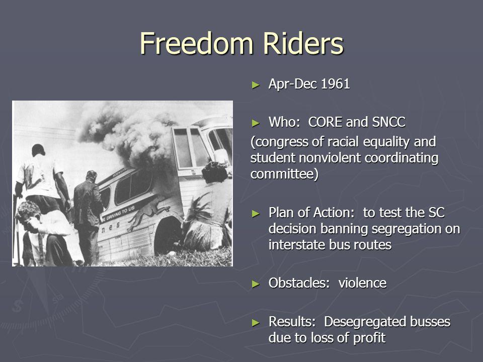 """Momentum"" Timeline ► May 1961, Freedom Riders ► Sep 1962, integrating the University of Mississippi ► Apr 1963, Birmingham ► June 1963, integrating t"