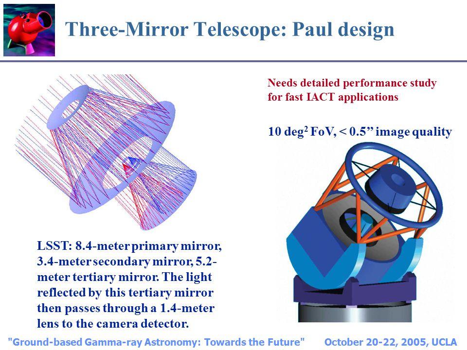 Ground-based Gamma-ray Astronomy: Towards the Future October 20-22, 2005, UCLA Three-Mirror Telescope: Paul design LSST: 8.4-meter primary mirror, 3.4-meter secondary mirror, 5.2- meter tertiary mirror.