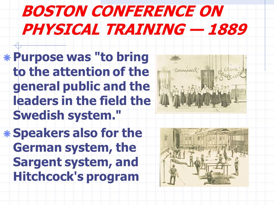 BOSTON CONFERENCE ON PHYSICAL TRAINING — 1889  Purpose was to bring to the attention of the general public and the leaders in the field the Swedish system.  Speakers also for the German system, the Sargent system, and Hitchcock s program