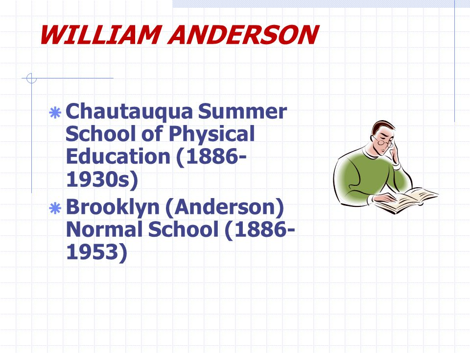 WILLIAM ANDERSON  Chautauqua Summer School of Physical Education (1886- 1930s)  Brooklyn (Anderson) Normal School (1886- 1953)