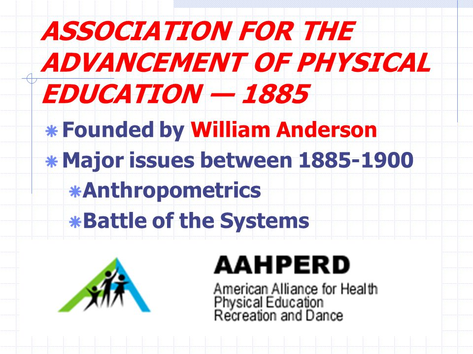 ASSOCIATION FOR THE ADVANCEMENT OF PHYSICAL EDUCATION — 1885  Founded by William Anderson  Major issues between 1885-1900  Anthropometrics  Battle of the Systems