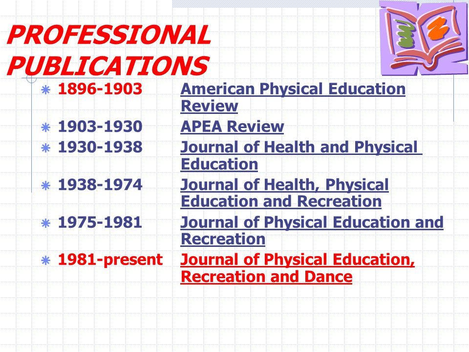 PROFESSIONAL PUBLICATIONS  1896-1903 American Physical Education Review  1903-1930 APEA Review  1930-1938 Journal of Health and Physical Education  1938-1974 Journal of Health, Physical Education and Recreation  1975-1981 Journal of Physical Education and Recreation  1981-presentJournal of Physical Education, Recreation and Dance