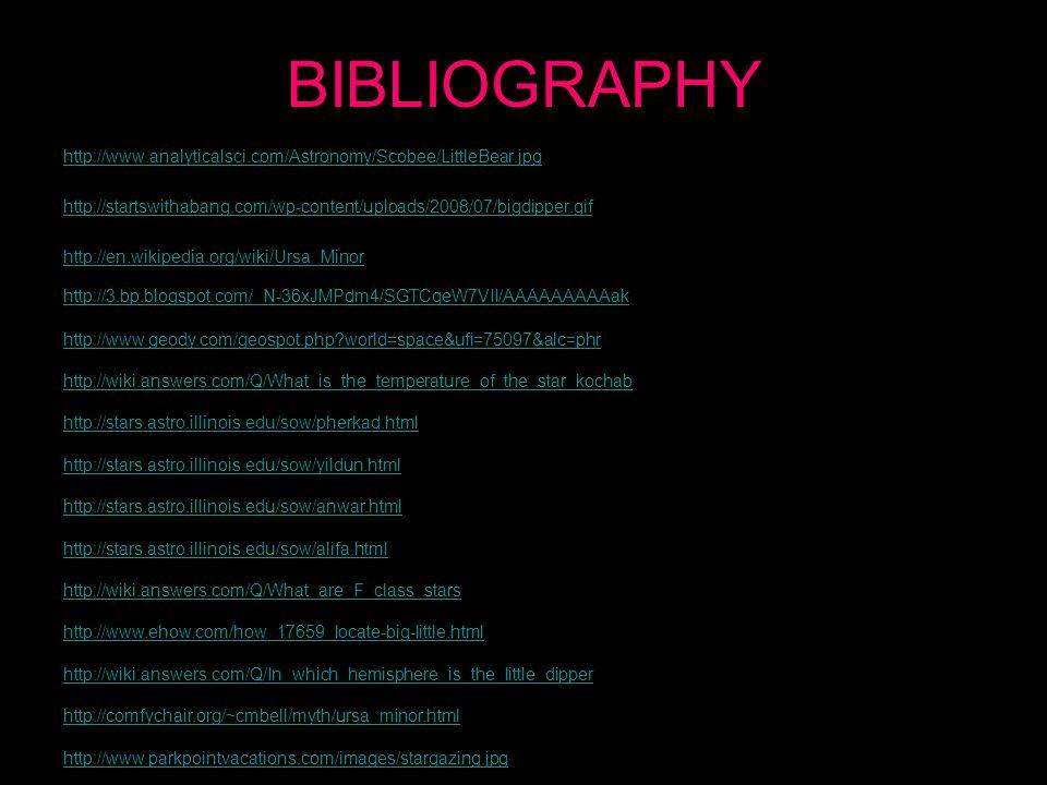 BIBLIOGRAPHY http://www.analyticalsci.com/Astronomy/Scobee/LittleBear.jpg http://startswithabang.com/wp-content/uploads/2008/07/bigdipper.gif http://en.wikipedia.org/wiki/Ursa_Minor http://3.bp.blogspot.com/_N-36xJMPdm4/SGTCqeW7VII/AAAAAAAAAak http://www.geody.com/geospot.php world=space&ufi=75097&alc=phr http://wiki.answers.com/Q/What_is_the_temperature_of_the_star_kochab http://stars.astro.illinois.edu/sow/pherkad.html http://stars.astro.illinois.edu/sow/yildun.html http://stars.astro.illinois.edu/sow/anwar.html http://stars.astro.illinois.edu/sow/alifa.html http://wiki.answers.com/Q/What_are_F_class_stars http://www.ehow.com/how_17659_locate-big-little.html http://wiki.answers.com/Q/In_which_hemisphere_is_the_little_dipper http://comfychair.org/~cmbell/myth/ursa_minor.html http://www.parkpointvacations.com/images/stargazing.jpg