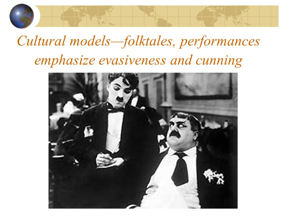 Cultural models—folktales, performances emphasize evasiveness and cunning
