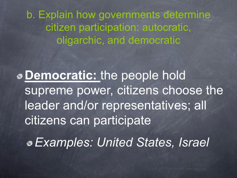 b. Explain how governments determine citizen participation: autocratic, oligarchic, and democratic Democratic: the people hold supreme power, citizens