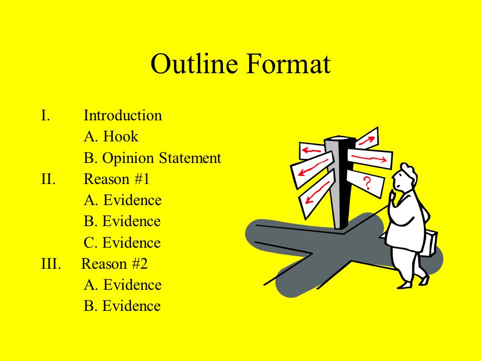 Outline Format I.Introduction A. Hook B. Opinion Statement II.