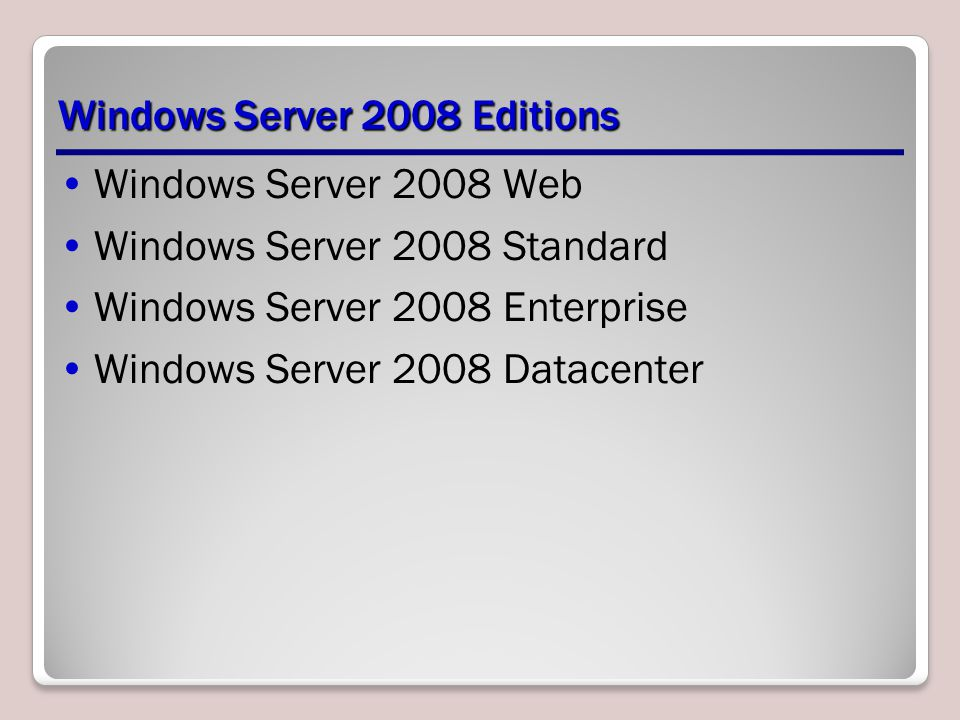 Windows Server 2008 Web Designed specifically for computers functioning as Internet or intranet Web servers.