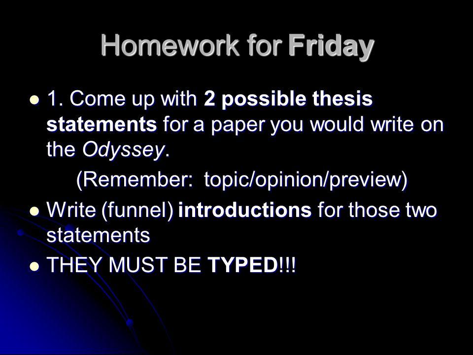 Homework for Friday 1.