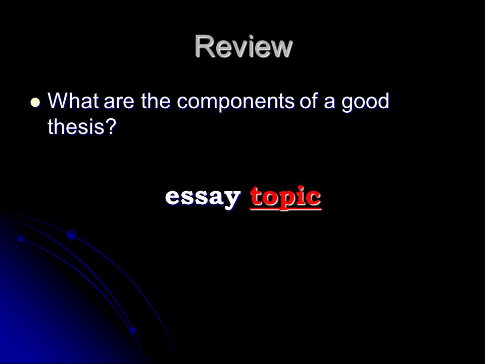 Review essay topic