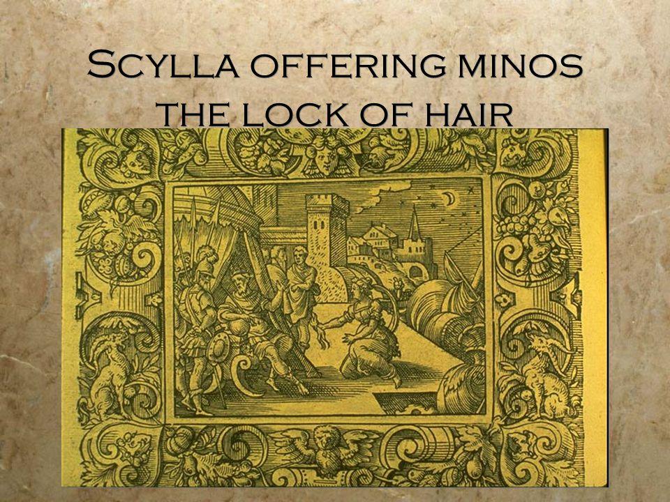 Scylla offering minos the lock of hair