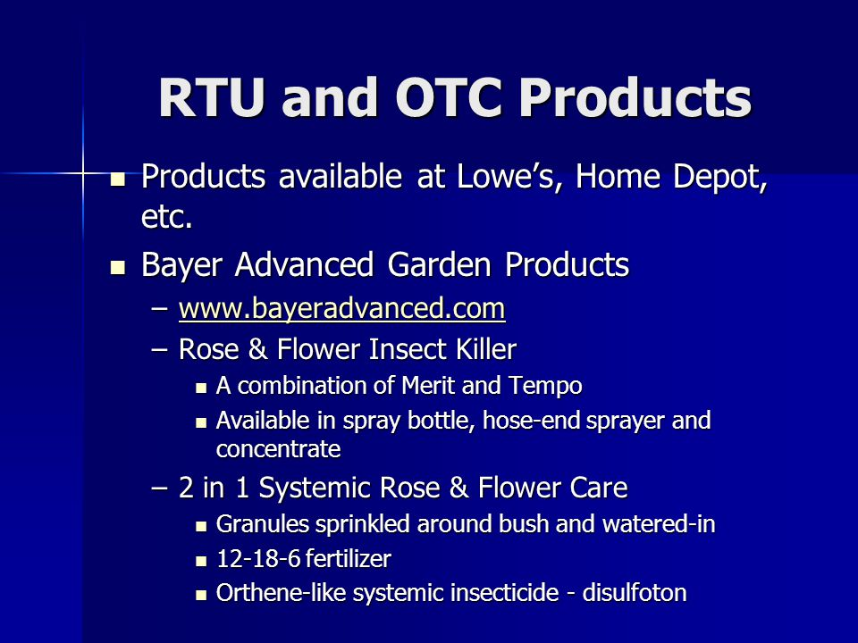 RTU and OTC Products Products available at Lowe's, Home Depot, etc.