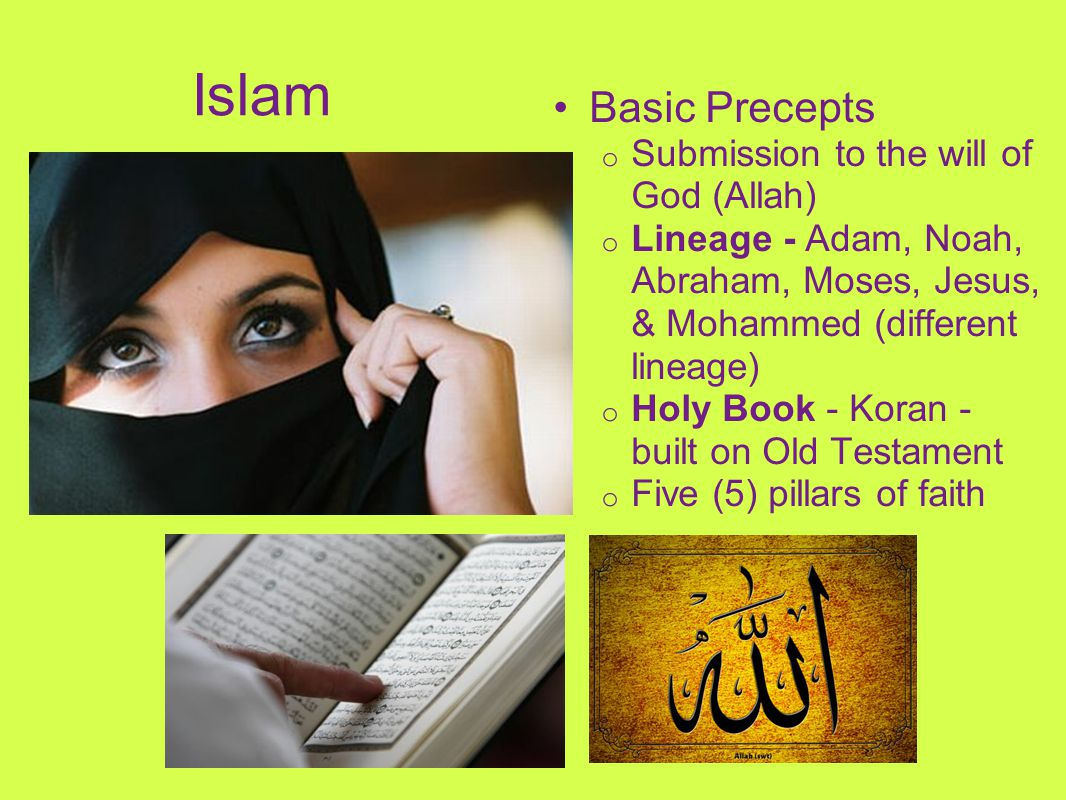 Islam Basic Precepts o Submission to the will of God (Allah) o Lineage - Adam, Noah, Abraham, Moses, Jesus, & Mohammed (different lineage) o Holy Book
