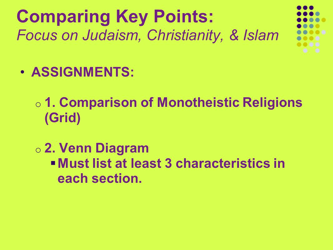 Comparing Key Points: Focus on Judaism, Christianity, & Islam ASSIGNMENTS: o 1. Comparison of Monotheistic Religions (Grid) o 2. Venn Diagram  Must l