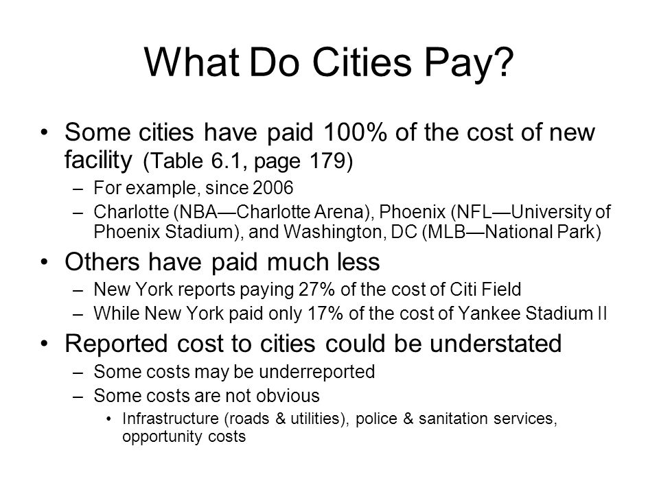 What Do Cities Pay? Some cities have paid 100% of the cost of new facility (Table 6.1, page 179) –For example, since 2006 –Charlotte (NBA—Charlotte Ar