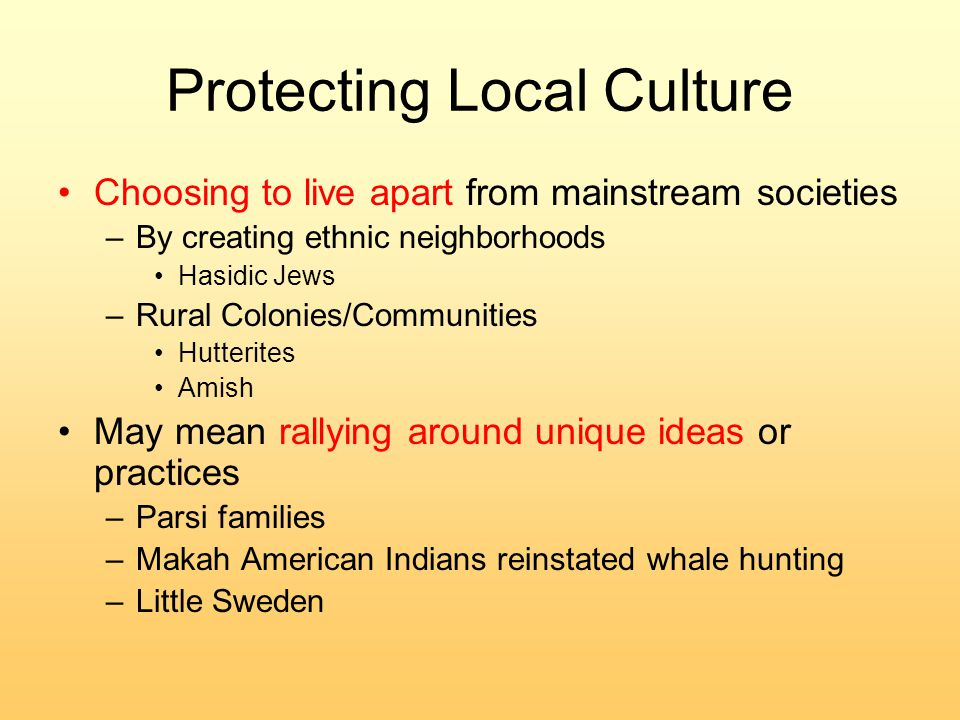 Protecting Local Culture Choosing to live apart from mainstream societies –By creating ethnic neighborhoods Hasidic Jews –Rural Colonies/Communities Hutterites Amish May mean rallying around unique ideas or practices –Parsi families –Makah American Indians reinstated whale hunting –Little Sweden