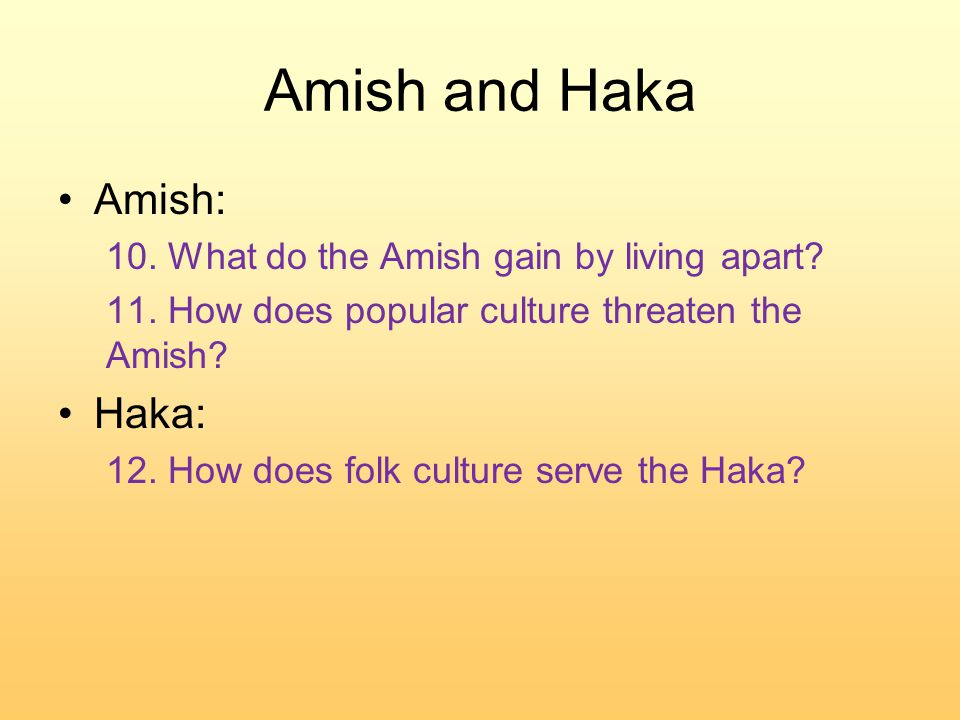 Amish and Haka Amish: 10. What do the Amish gain by living apart.