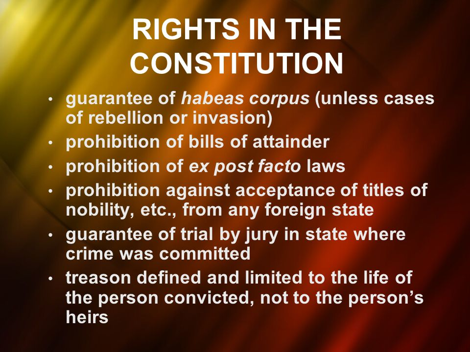 CIVIL LIBERTIES Bill of Rights – Unanimously defeated at the convention – Unnecessary as state constitutions protected individual rights – So why was