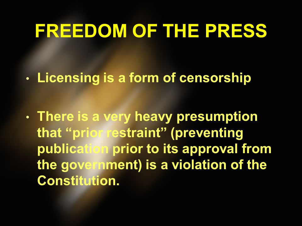 FREEDOM OF THE PRESS Is freedom of the press an absolute right? – National Security Can't publish troop movements prior to the battle – Fair Trial A j