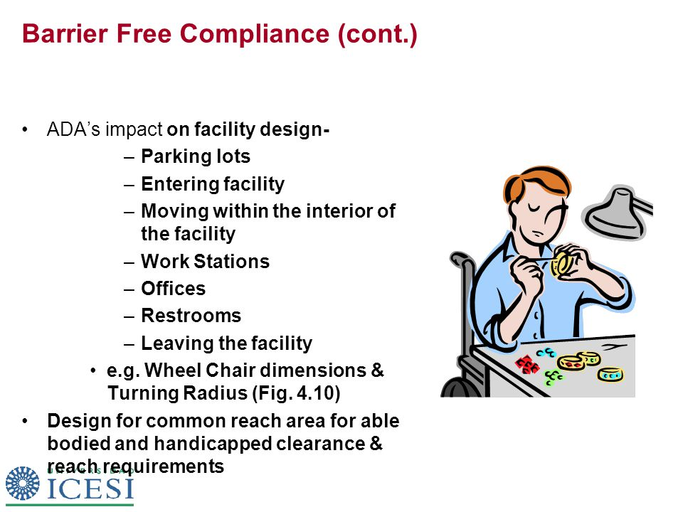 Barrier Free Compliance (cont.) ADA's impact on facility design- –Parking lots –Entering facility –Moving within the interior of the facility –Work St