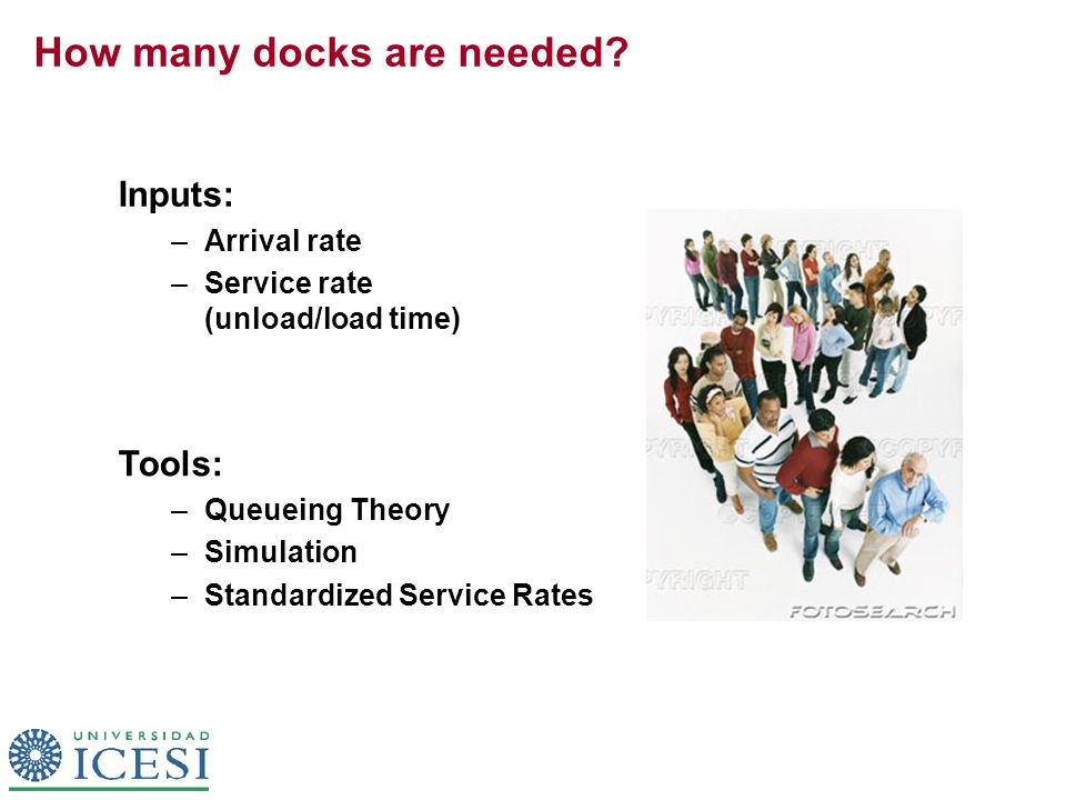 How many docks are needed? Inputs: –Arrival rate –Service rate (unload/load time) Tools: – Queueing Theory – Simulation – Standardized Service Rates