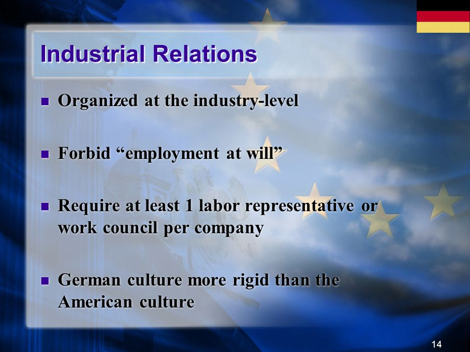 "14 Industrial Relations Organized at the industry-level Forbid ""employment at will"" Require at least 1 labor representative or work council per compan"