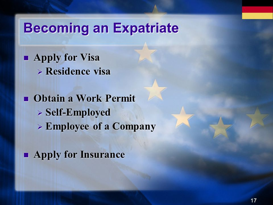 17 Becoming an Expatriate Apply for Visa  Residence visa Obtain a Work Permit  Self-Employed  Employee of a Company Apply for Insurance Apply for V